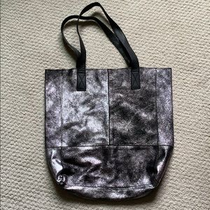 Black silver leather suede tote